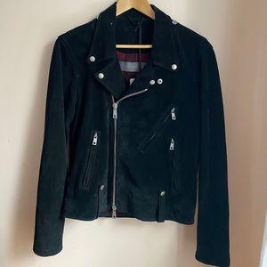 Giorgio Brato Black Suede Leather Moto Jacket